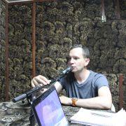 Ben on the radio in Makeni